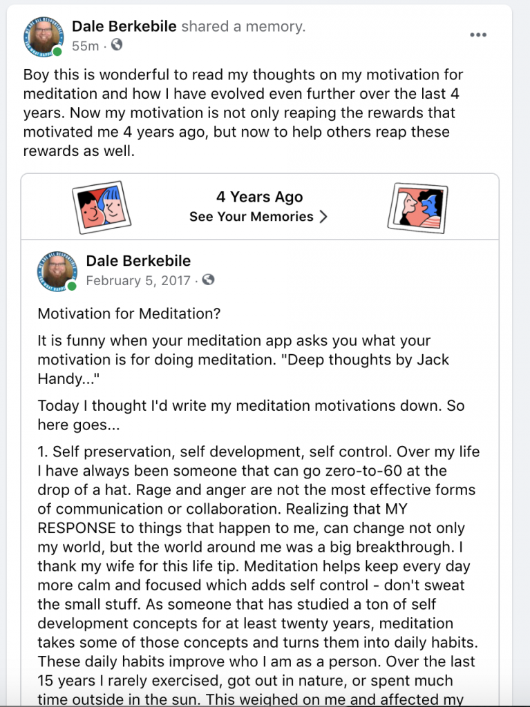 Facebook post on what my motivation is for mindfulness - 4 year update via February 4, 2017 post.