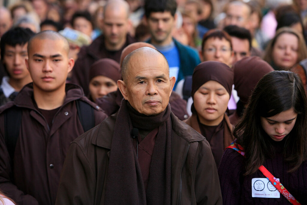 Thich Nhat Hanh - walking meditation with Plum Village - living the Five Mindfulness Trainings